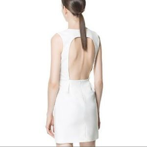 Zara White Backless Mini Shift Dress
